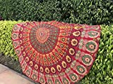 raajsee Tela Redonda de Mandala, Estilo Hippie,diseño Bohemio de Pavo Real, de algodón, Ideal como Colcha, Tapiz Decorativo, Mantel o Toalla de Playa, algodón, Rojo, 70 Inch
