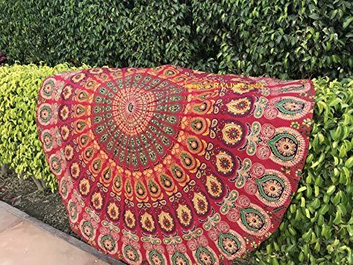 raajsee Indien Strandtuch Rund Mandala Hippie/Groß Indisch Rundes Baumwolle/Boho Runder Yoga Matte Tuch Meditation/Tischdecke Rund Decke Picknick handgefertigt Teppich 70 inch (Rotes Mandala)