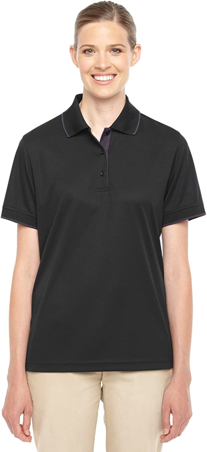 Ash City - Core 365 Motive Performance Pique Polo with Tipped Collar (78222) -BLACK/ CARBO -XS