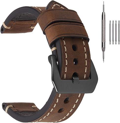 EACHE Bracelets de Montre en Cuir épais pour Hommes, Bracelets de Montre en Cuir ciré à l'huile de Cheval Fou 20mm 22...