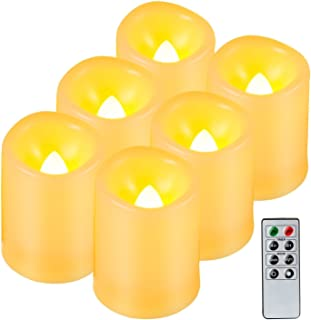 Kohree Realistic Battery-Powered Flameless Pillar Candles, Unscented Ivory Votive LED Candles with Remote Control and Timer, Batteries Included, 6 Piece