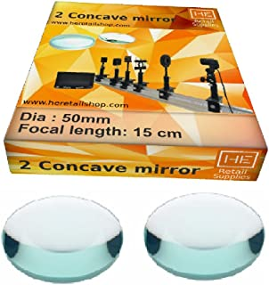 Deepak Enterprise Concave Mirrors, 50 mm, f 15 cm, Glass Optical Experiment Student Science Kits, by HE Retail Supplies, 2 PC