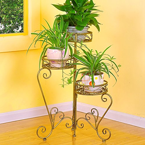 Fer Folding Flower Stand Floor Style Pots de fleurs Balcon Living Room Indoor and Outdoor Flower Rack (66 * 74cm) ( Couleur : Cuivre )