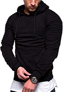 Sponsored Ad - N/C Men's Casual Fashion Sports Raglan Sleeves Striped Hoodie Pullover Long Sleeve Solid Color Sweater