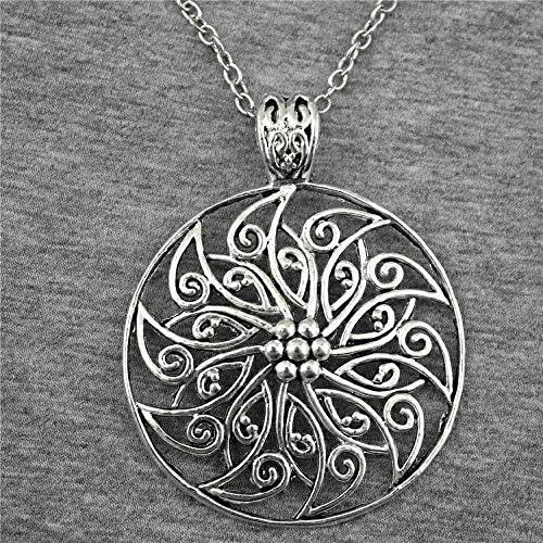 LKLFC Necklace Women Necklace Men 54Mm Antique Silver Color Flower Pendant Necklace Necklace for Women Pendant Necklace Girls Boys Gift