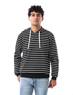Off Cliff Striped Banded Trims Drawstring Hoodie for Men
