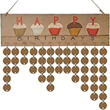 Happy Birthday Calendar Reminder Hanging Board with 50PC Wooden Disc, DIY Wooden Calendar Banner Wall Plaque for Birthday Party, Home Decorations