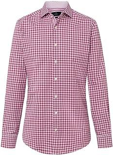 Hackett - Camisa de manga larga para hombre, diseño de cuadros Dobby, color frambuesa