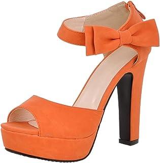 KemeKiss Women Fashion Block High Heels Platform Sandals with Bow