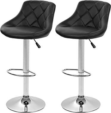 Bar Stools Set of 2 Barstools Swivel Stool Height Adjustable Bar Chairs with Back PU Leather Swivel Bar Stool Kitchen Counter