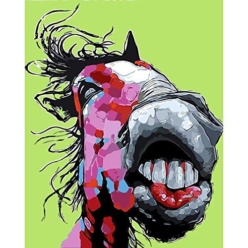 wojinbao DIY Digital Painting-Adult's Paint von Number Kits-Big Mund Pferd Tier Wohnzimmer Schlafzimmer Studie Home Decoration Drucke(Kein Rahmen)