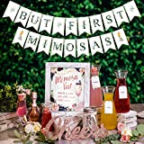 Rustic Boho Mimosa Bar Kit - Vintage Floral Bohemian Mothers Day Brunch Decor w/ Pink Burgundy Flowers Lace Rose Gold Bridal Shower Decoration Supplies Baby Girl Birthday Bubbly Banner Sign Set (Boho)