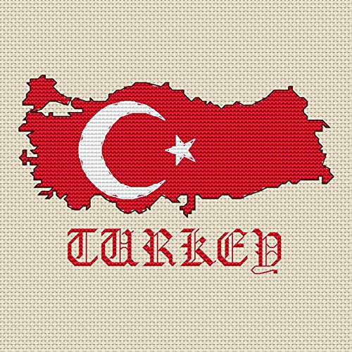 Turkije Kaart & Vlag Cross Stitch Kit door Elite Designs