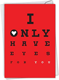 NobleWorks, Eyes For You - Funny Seductive Valentine's Day Note Card - Sexy & Romantic Vday Greeting with Envelope C6769VDG
