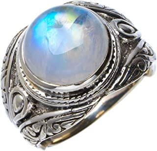 Natural Rainbow Moonstone Handmade Unique 925 Sterling Silver Ring 7.25 B1264