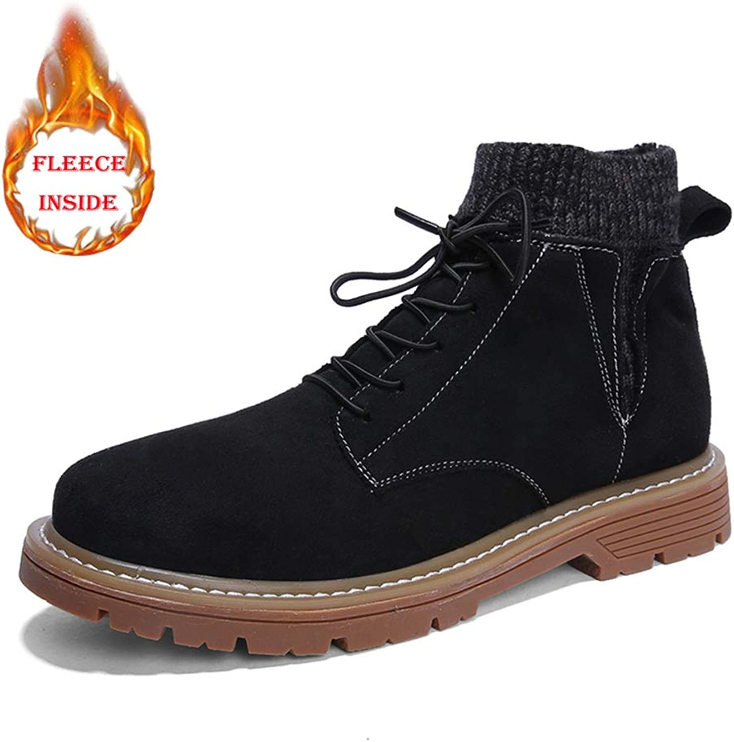 BND-SHOES ,Men's Fashion Ankle Work Boot Casual Solid color Lacing Up Winter Faux Fleece Inside High Top Boot(Conventional Optional) Durable,Stand Wear and Tear (color   Warm Black, Size   8.5 UK)