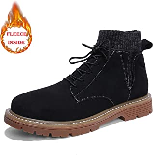 Xiang Ye Men's Fashion Ankle Work Boot Casual Solid Color Lacing Up Winter Faux Fleece Inside High Top Boot Conventional Optional (Color : Warm Black, Size : 6 UK)