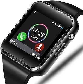 Reloj inteligente Sazooy Bluetooth Smart Watch Support Make/Responder Teléfonos Enviar/Obtener Mensajes Compatible Android iOS con Cámara Podómetro SIM Ranura para Tarjeta SD para Niños Hombres Mujeres, Negro