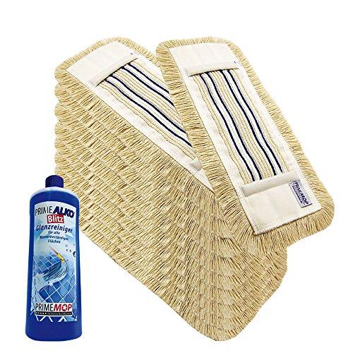 10x Wischmop WISCHBEZUG Bodenwischer 40cm Baumwolle Premium + 1L Reiniger Geschenk