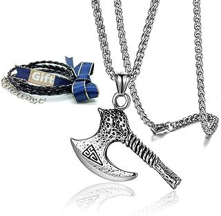 Htulip Mens Necklace Pentagram Hexagon Obsidian Stone Amulet Pendant Necklace for Men Women