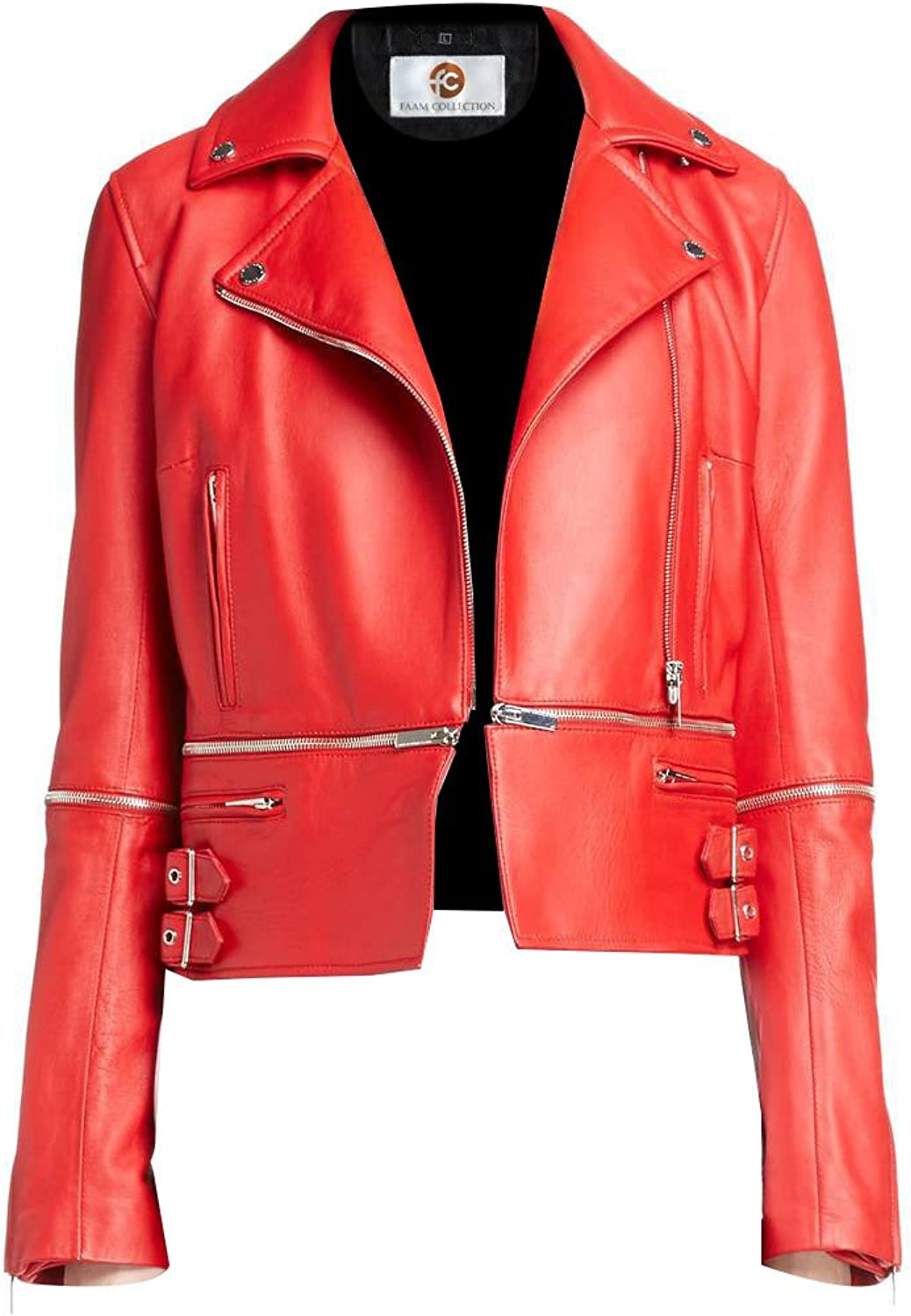 Faam Collection Special Spring orange Faux Leather Jacket for Women