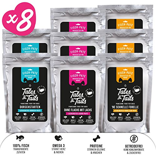 Tales & Tails® - Nassfutter für Hunde aus 100% isländischem Fisch | Getreidefreies Hundefutter, Natürlich, Nährstoffreich, Zuckerfrei| Probepaket mit 3 Sorten: Dorsch, Forelle, Lachs | 8x100g