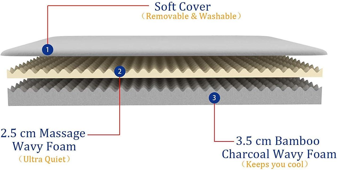 Vesgantti Matratzentopper Memoryschaum Matratzenauflage 6cm hoch Topper 2 Layer Luftdurchfliessendes Ergonomisches Design Matratze 90 * 190cm