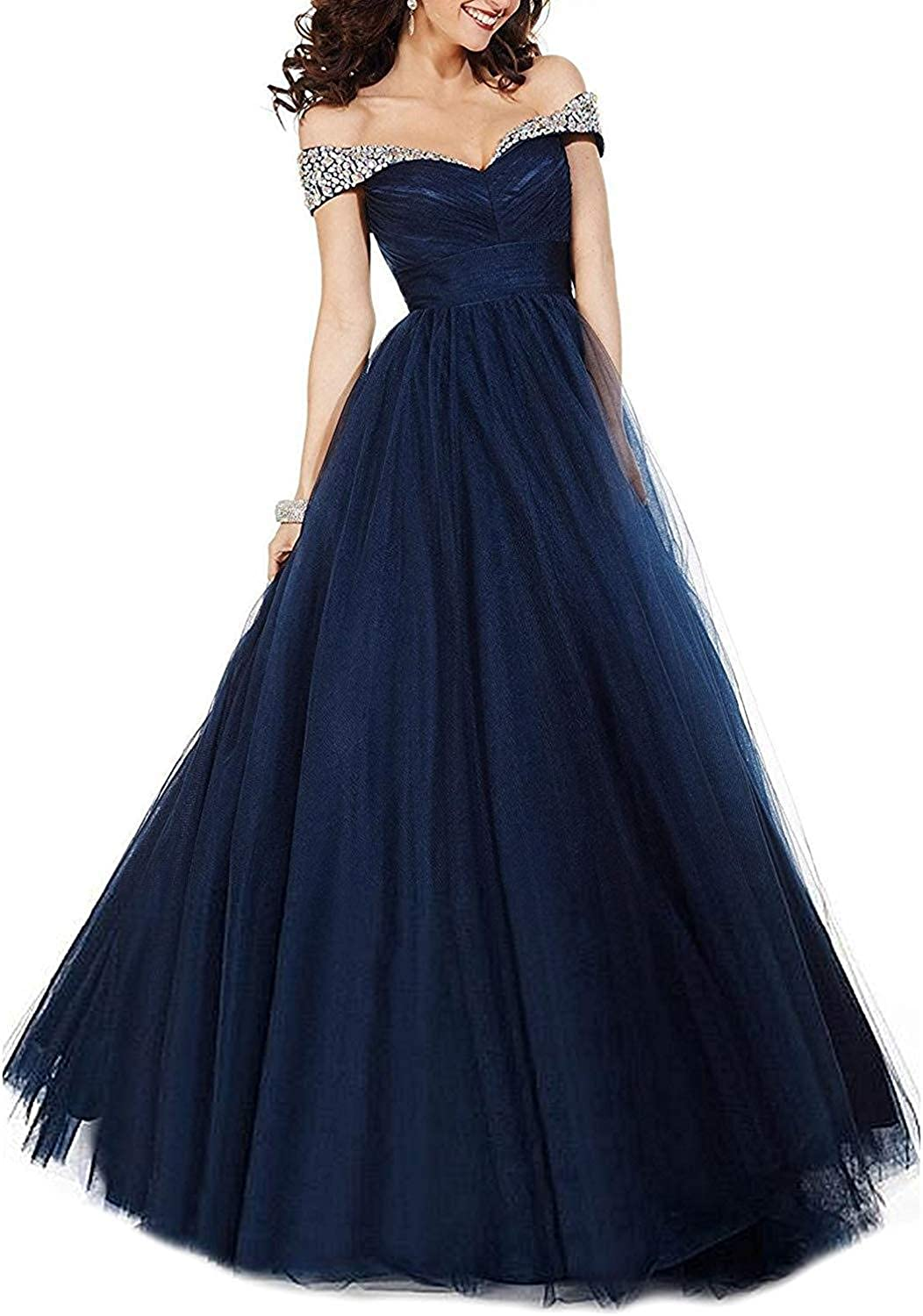 EverBeauty Off The Shoulder Tulle Prom Dress 2019 Long Beaded Aline Evening Formal Ball Gown