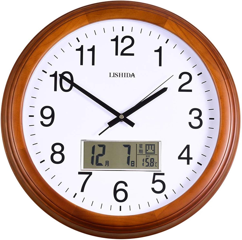 Silent Wall Clock Solid Wood Calendar Living Room Wall Clock Temperature Week Clock Wall Clock