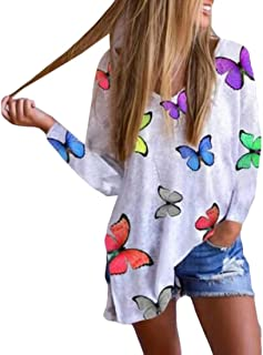 UUYUK Women Long Sleeve Print V Neck Split Tops T-shirt Blouse