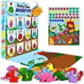 LIL ADVENTS Potty Time Adventures Potty Training Game - 14 Wood Block Toys, Chart, Activity Board, Stickers and Reward Badge for Toilet Training, Dinosaurs