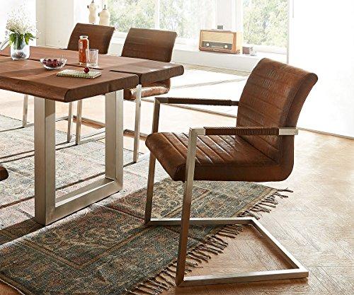 Küchenstuhl Earnest Vintage Freischwinger Design Stuhl (Braun, Gestell Edelstahl)