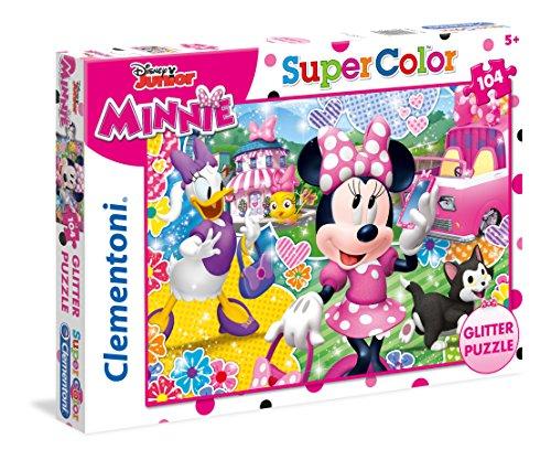 Clementoni- Puzzle 104 Piezas Glitter Minnie Happy Heper, Mu