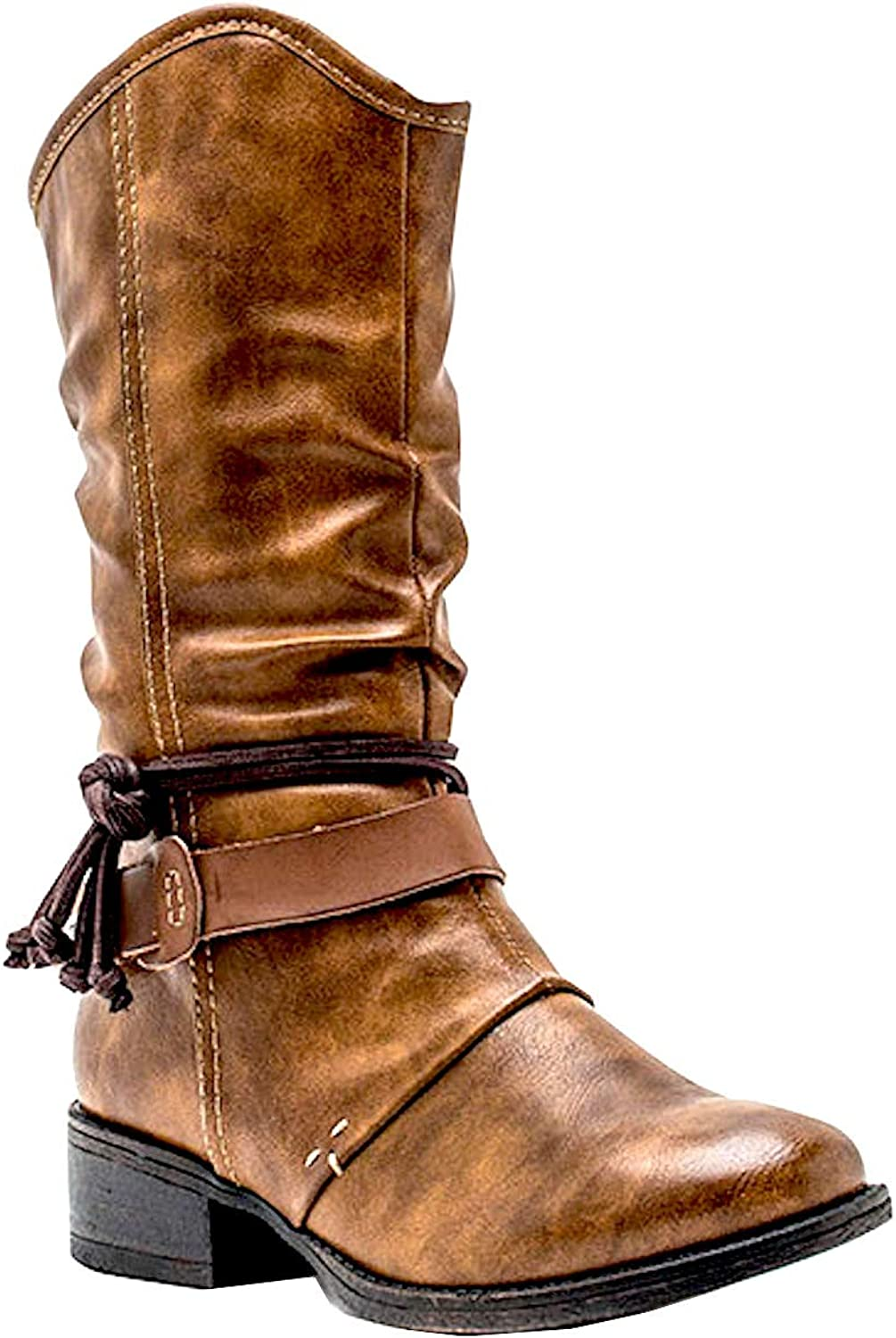 Gc shoes Women's Dustin Round Toe Tassel Detail Leather Mid-Calf Boot