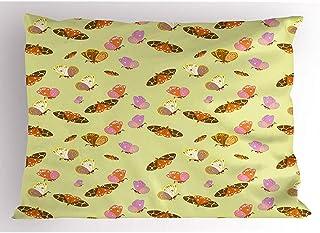 4 Piezas 18X18 Pulgadas Funda De Almohada Con Forma De Mariposa,Patrón De Tiernos Insectos Voladores Con Varios Motivos Y Manchas,Funda De Almohada Impresa Tamaño King Estándar