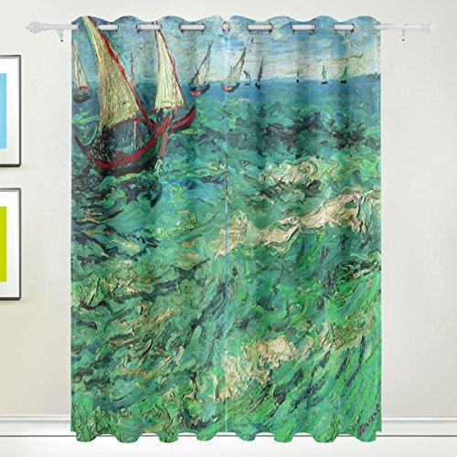 Rideau de fenêtre, Luxe 2 panneaux Peinture à l'huile Mer Wave voilier Impression Isolation thermique épais Super Doux Tissu de polyester Décoration de maison avec oeillet pour chambre à cou