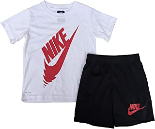 Nike Toddler Boys' Dri Fit Short Sleeve T-Shirt and Shorts 2 Piece Set (12 Months, White (66C261-023) / University Red/Black)