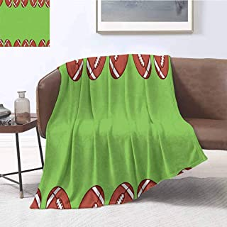 Luoiaax Football Rugged or Durable Camping Blanket Cartoon Framework with Balls and Faded Silhouettes Game Match Warm and Washable W80 x L60 Inch Pistachio Green Redwood White