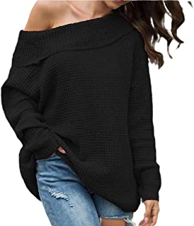 Womens Off The Shoulder Sweater Pullover Knitted Long Sleeve Jumper Blouse