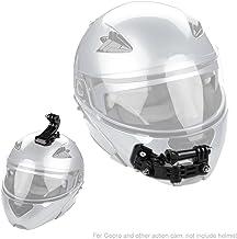Casco Kit de montaje de casco de barbilla para GoPro Hero 5 6 Cámara de acción Xiaomi Yi, montura frontal y lateral giratoria de casco y soportes adhesivos planos curvados con almohadillas adhesivas
