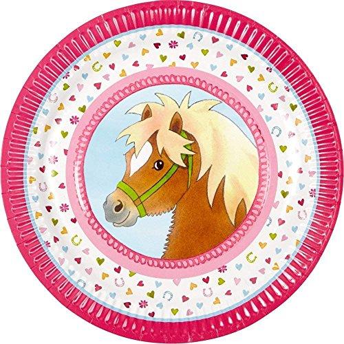 Neu: 8 Party-Teller * Mein Ponyhof * für Kindergeburtstag und Motto-Party | Pferde Pony Reiten Kinder Geburtstag Feier Partyteller Pappteller Motto Mädchen