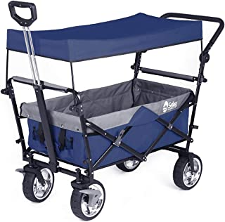 Sekey Folding Wagon with Canopy Collapsible Outdoor Utility Wagon with Telescopic Push Bar Camping Wagon, Heavy-Duty Wheels with Brakes, Blue