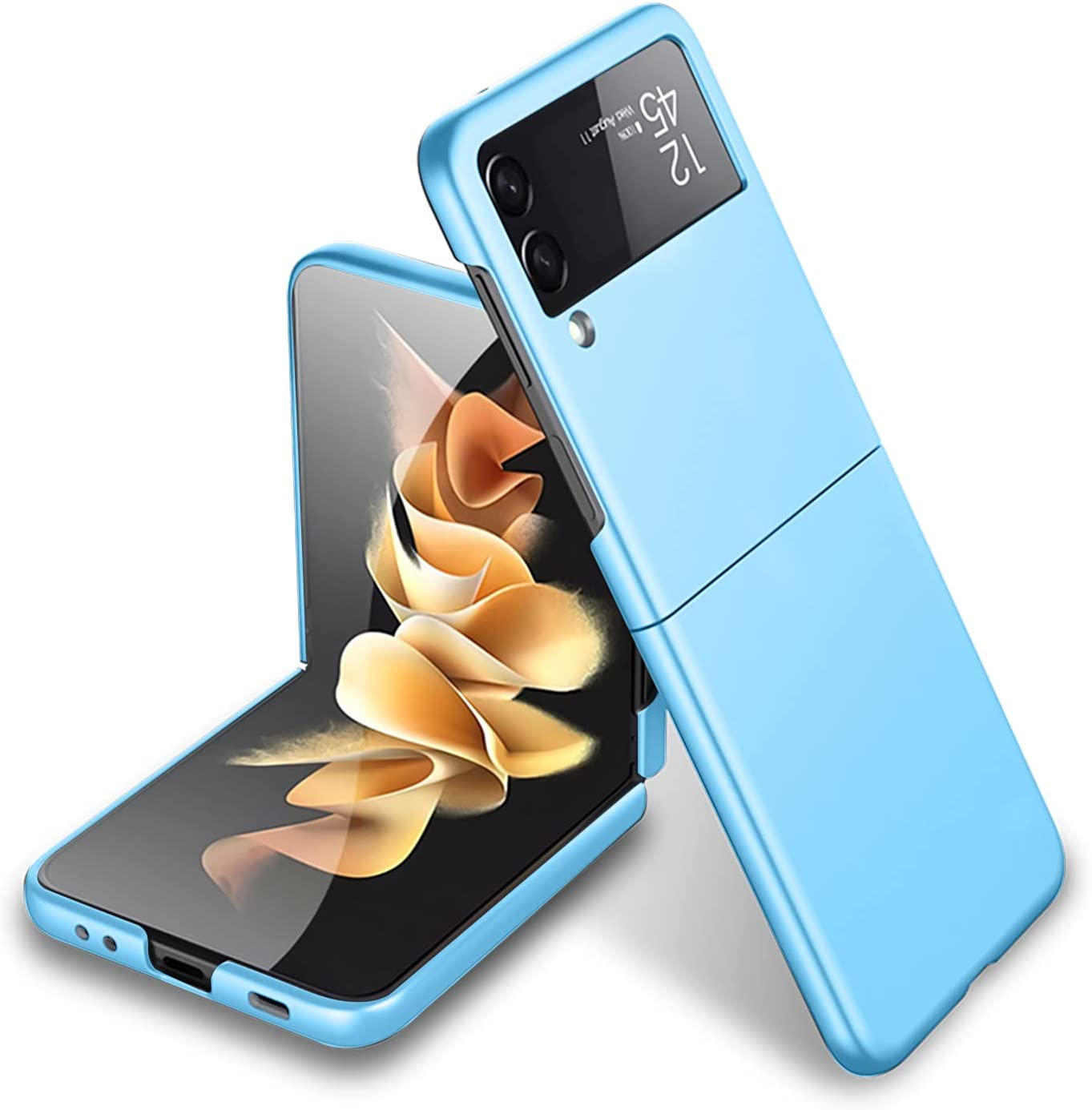 MZELQ Compatible with Samsung Galaxy Z Flip 3 5G Case Shockproof PC Hard Cover for Girls Women -Blue