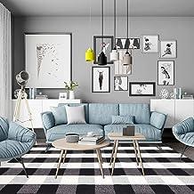 100% Cotton Plaid Rug, KIMODE Black/White Hand-Woven Buffalo Checkered Floor Mats, Washable Collection Rugs Carpet for Por...