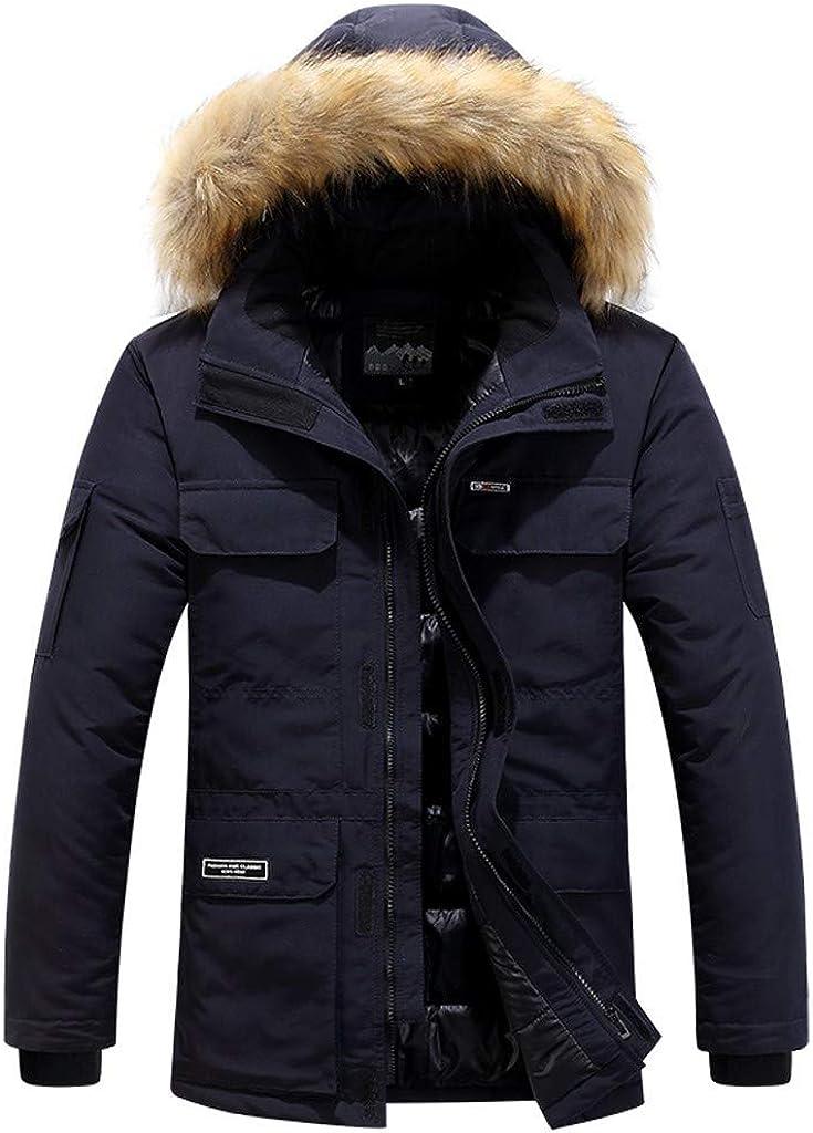 Men's Long Down Coat with Fur Hood Long Sleeve Zipper Winter Warm Outdoor Windproof Outwear