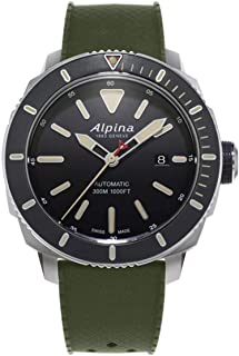 Alpina Men's SEASTRONG Diver 300 Stainless Steel Automatic-self-Wind Watch with Rubber Strap, Black, 22 (Model: AL-525LGG4V6)