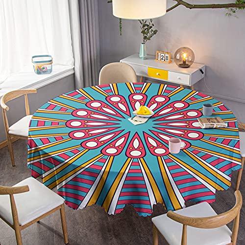 Manteles Redondos Mantel con Estampado 3D Mantel de Encaje Cubierta de Mesa Multiusos para Interiores y Exteriores para Fiestas de cumpleaños en la Cocina