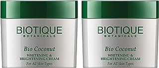 Biotique Bio Coconut Whitening & Brightening Cream For All Skin Types, 50G - 2 pk