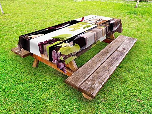 ABAKUHAUS Wijn Tafelkleed voor Buitengebruik, Themed Fles wijnglas, Decoratief Wasbaar Tafelkleed voor Picknicktafel, 58 x 84 cm, Pale Green Burgundy