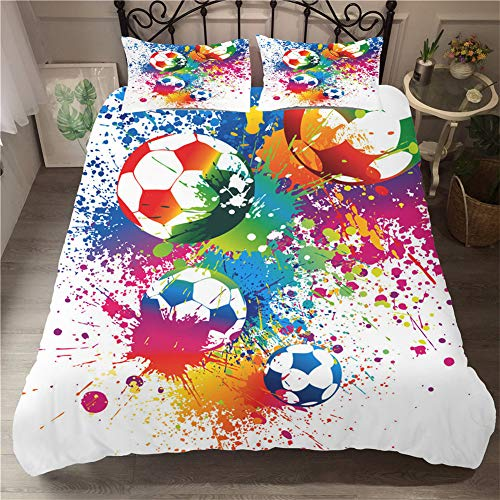 Meiju Duvet Cover 3D, Single Double Super King Size Bed Football Sport Print 3 Pieces Quilt Bedding Set with Pillowcases Microfiber Ultra Soft Hypoallergenic Breathable (Watercolor,200x200cm)